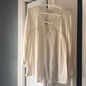 Lucky Brand white cotton and lace top